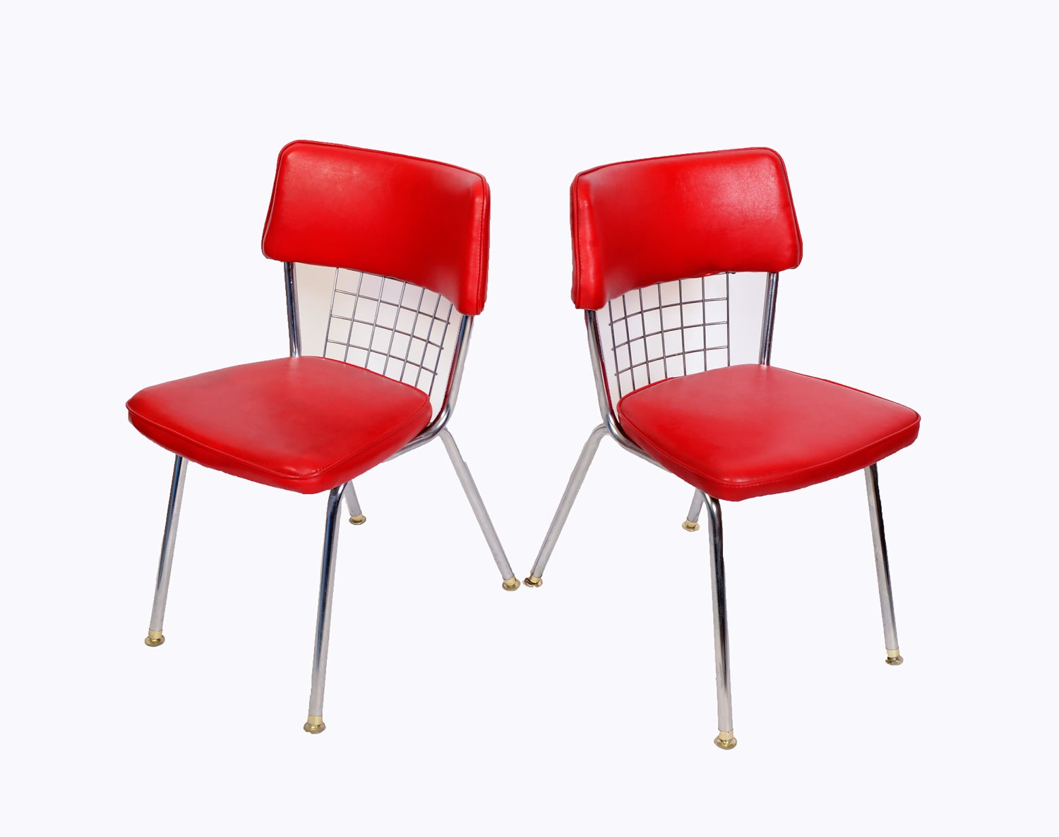 Chrome dinette chairs set of 6 red seats howell modern metal for Modern metal chairs