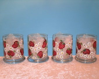 VOTIVE CUPS with STRAWBERRIES, set of four