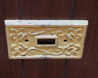 Lemon Yellow Light Switch Plate /Or Pick Your Color/  Light Plate Cover / Cast Iron / Wall Decor / Fleur de lis Pattern/ Vintage Decor