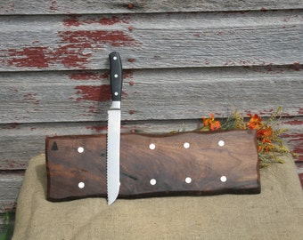 Natural Edge  Walnut Magnetic Knife Rack (5 Knives) 18 Inches