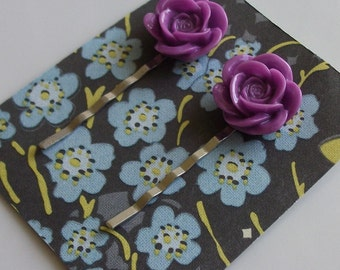Lilac Flower Hair Clips