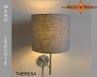 Grey wall lamp THERESA light grey linen lamp classic