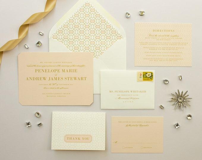 Art Deco Wedding Invitation Suite, Die Cut Invite, Pink and Gold Wedding Invitations, 1920s Theme Wedding Invitation SAMPLE | Soiree