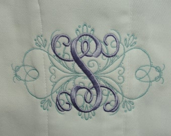 Fancy Custom Order Machine Embroidered Monogrammed Personalized Burp Cloth