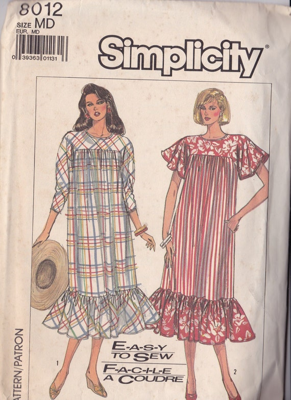 Simplicity 8012 Uncut Vintage Pattern Womens Loose Fitting Dress Caftan Kaftan pattern Size Medium