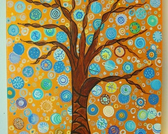 "Tree Painting Abstract Painting Gold and Blue Painting Acrylic Painting Art by Glorianna 20"" x 16"" Art and Painting"