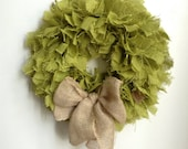 St Patricks Day Wreath, Green Burlap Wreath, Burlap Wreath, Spring Wreath, Green Wreath, Summer Wreath