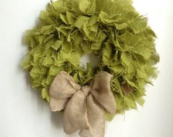 "17"", St Patricks Day Wreath, Green Burlap Wreath, Easter Wreath, Spring Wreath, Green Wreath, Summer Wreath"