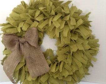 "26"", St Patrick's Day Wreath, Christmas Wreath, Green Wreath, Holiday Wreath, Green Burlap Wreath, Green wreath,"