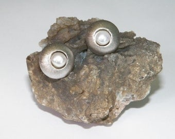 White Freshwater Pearl & 925 Sterling Silver Satin Finish Stud Earrings