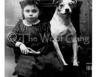 Vitnage Photo of Child and Mix Breed Dog c. 1915