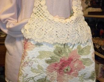Shabby Chic Peach Blossom Tote Handbag Purse
