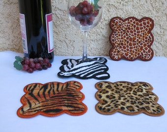 Embroidered Wine Coasters with Pocket, Quilted,  Set of 4