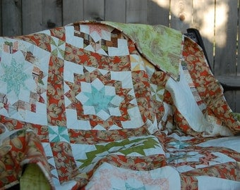 Funky Modern Floral Carpenter's Wheel Block Lap-Size Quilt