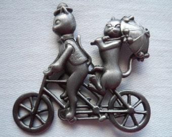 Vintage Signed AJC Silvertone/Matt Cats on a Bike Brooch/Pin