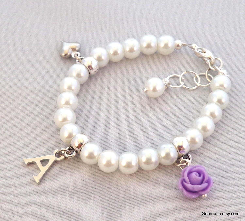 personalized flower bracelet flower gift by gemnotic