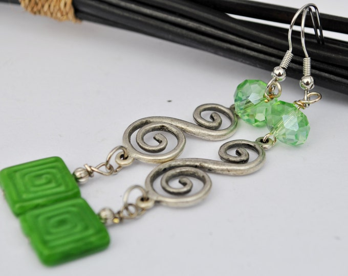 Swirls and squares in soft green Czech glass bead earrings with green crystals