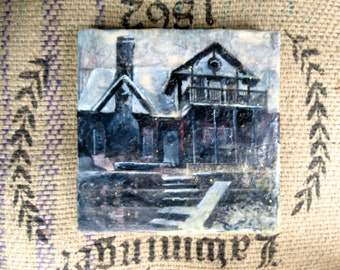 Cusomizable Shabby Chic House Silhouette Art: Mixed Media Encaustic Collage Painting