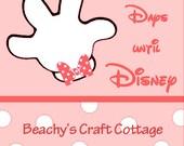"Days until Disney Pink, 7"" x 5.5"" Wood Block"