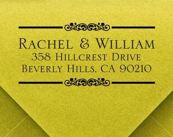 CUSTOM address STAMP from USA, pre inked stamp, Wedding Stamp, rsvp stamp, return address stamp with proof - Custom Address Stamp c6-27