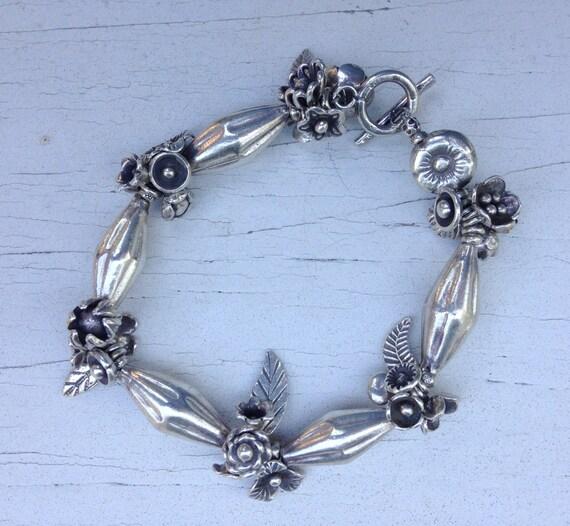 Chunky fine silver flower garden bracelet by ladeDAH! jewelry