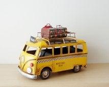 NYC taxi van, vintage, yellow VW taxi van miniature, metal collectible retro van replica, handmade, tin VW car reproduction