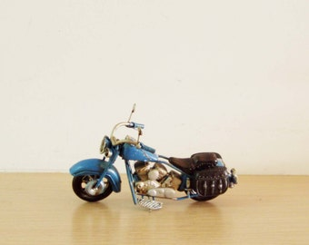 Royal blue, Harley bike,vintage, collectible miniature, alloy and rubber, shabby style Harley motorcycle, mens gift mini bike, mid ninetiies