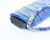 Dazzling Blue Cell Phone Bag.  Beaded iPhone Case. Mobile Phone Bag. Bead Crocheted phone Purse. Phone case with bracelet. Color trends 2014