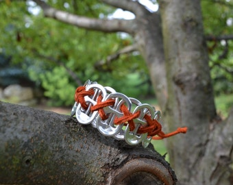 Recycled Reclaimed Soda Pop Can Pull Tab Bracelet Kids with Leather Cord- Choose Your Colors!