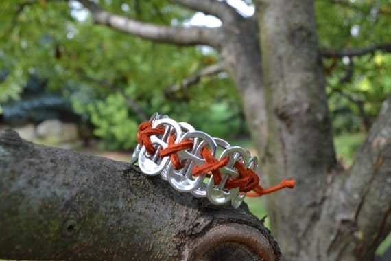 Recycled Reclaimed Soda Pop Can Pull Tab Bracelet with Leather Cord- Brick Red and Silver