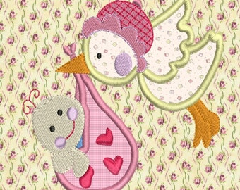 Stork  Applique Machine Embroidery Design