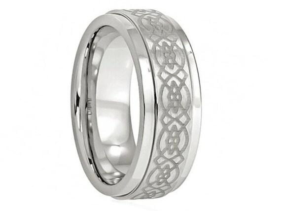 Wedding band cobalt 8mm celtic handmade unique beveled edge men s ring