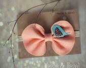 Felt bow headband- Bow with little felt bird- Baby, Toddler, Adult
