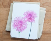 Two Pink Flowers Blank Cards and Envelopes, Gift Set of Botanical Cards