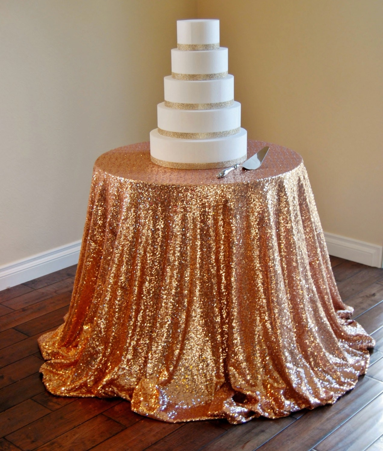 SEQUIN TABLECLOTH Rose Gold 108 Round Sequin By ModernCelebrations