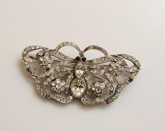 Vintage Butterfly Brooch Pin Figural Sterling Silver Signed GA Italy