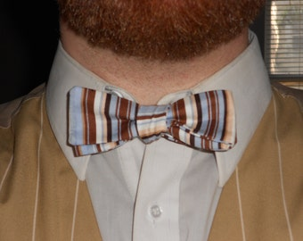 Blue/Brown/Tan Striped Narrow Cotton Bowtie--Adjustable, Easy-fastening