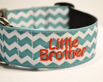 "Wide - Personalized - 1.5"" wide teal chevron dog collar - made to order"