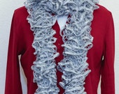 Unique Hand Knit Ruffle Scarf Sparkle Gray Grey Neck Warmer & Free Gift