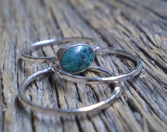 Turquoise stacking rings- set of 3