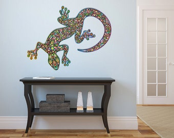 "Psychedelic Gecko Vinyl Wall Decal Graphics 32"" x 29"" Bedroom Home Decor"