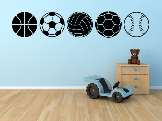 Various sports balls kids room childrens nursery by stickerhog for Sports decals for kids rooms