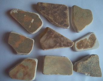 Scottish Sea Glass beach finds 9 brown coloured mixed sea pottery shards b13