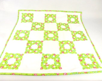 Handmade baby quilt,small quilt, pram quilt, crib moses basket quilt, small patchwork quilt snuggle, security blanket baby travel blanket UK