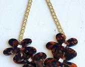 J Crew Inspired Tortoise Flower Necklace - On Sale
