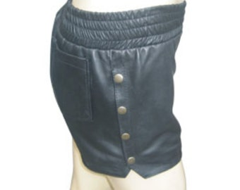 Leather Snap Side Boxer Shorts Custom Made To Order SO202