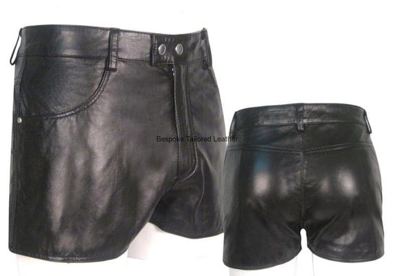 Black Leather Shorts With Two Pockets Custom Made To Order BSHN001