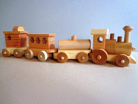 Wooden Toy Trains : Wooden toy train set heirloom quality classic hand