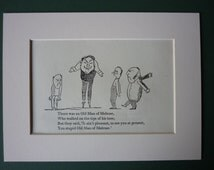 1950 Vintage Edward Lear Print - Tip Toes - Nonsense Rhyme - Victorian Poetry - Poem - Limerick - Vintage Print - Melrose - Humour - Humor