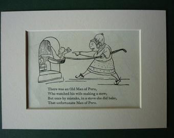 1950 Vintage Edward Lear Print - Vintage Print - Victorian Print - Nonsense - Black & White - Limerick - Poetry - Poem - Stove - Peru - Ove
